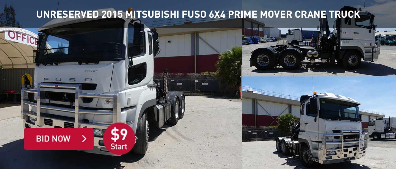 Unreserved 2015 Mitsubishi Fuso 6x4 Prime Mover Crane Truck