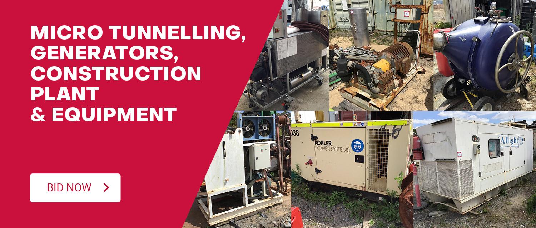 Micro Tunnelling, Generators, Construction Plant & Equipment