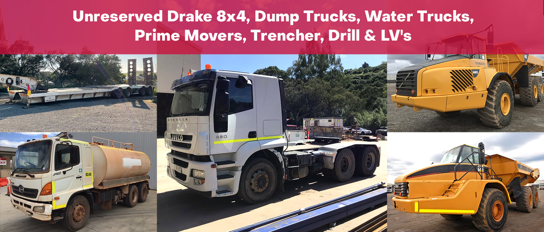 Unreserved Drake 8x4, Dump Trucks, Water Trucks, Prime Movers, Trencher, Drill & LV's