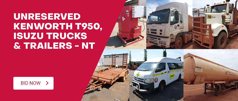 Unreserved Kenworth T950, Isuzu Trucks & Trailers - NT