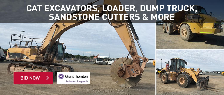 Cat excavators, loader, dump truck, sandstone cutters and more