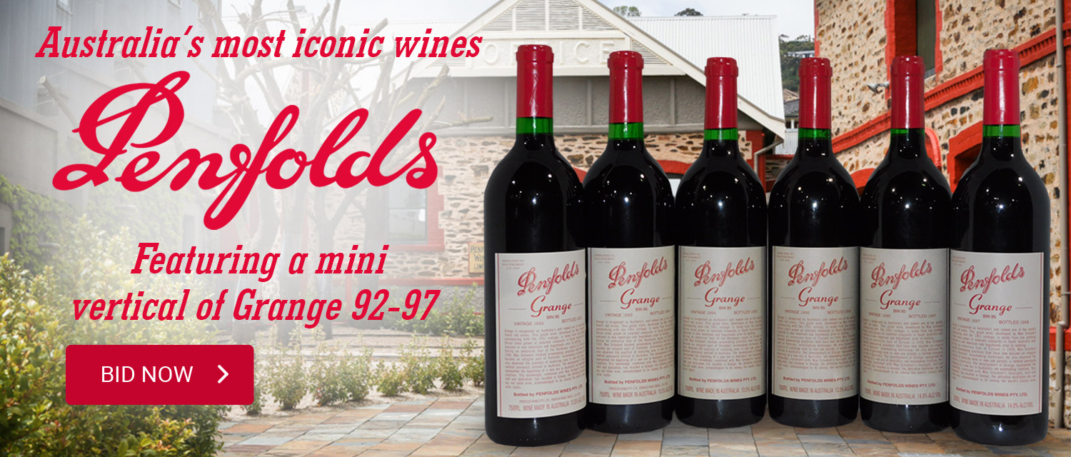 Penfolds featuring a mini vertical of grange 92-97