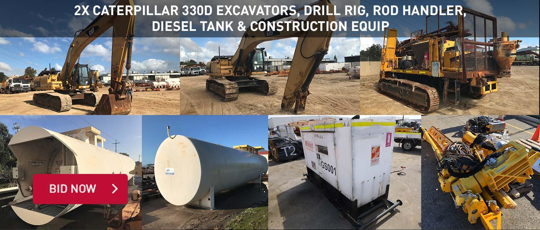 2x Caterpillar 330D Excavators, Drill Rig, Rod Handler, Diesel Tank & Construction Equip