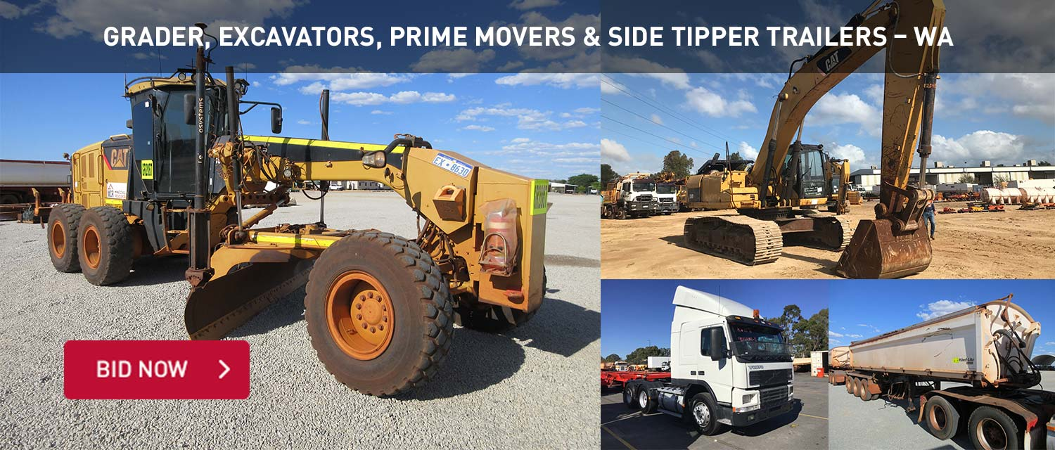 Grader, Excavators, Prime Movers & Side Tipper Trailers - WA