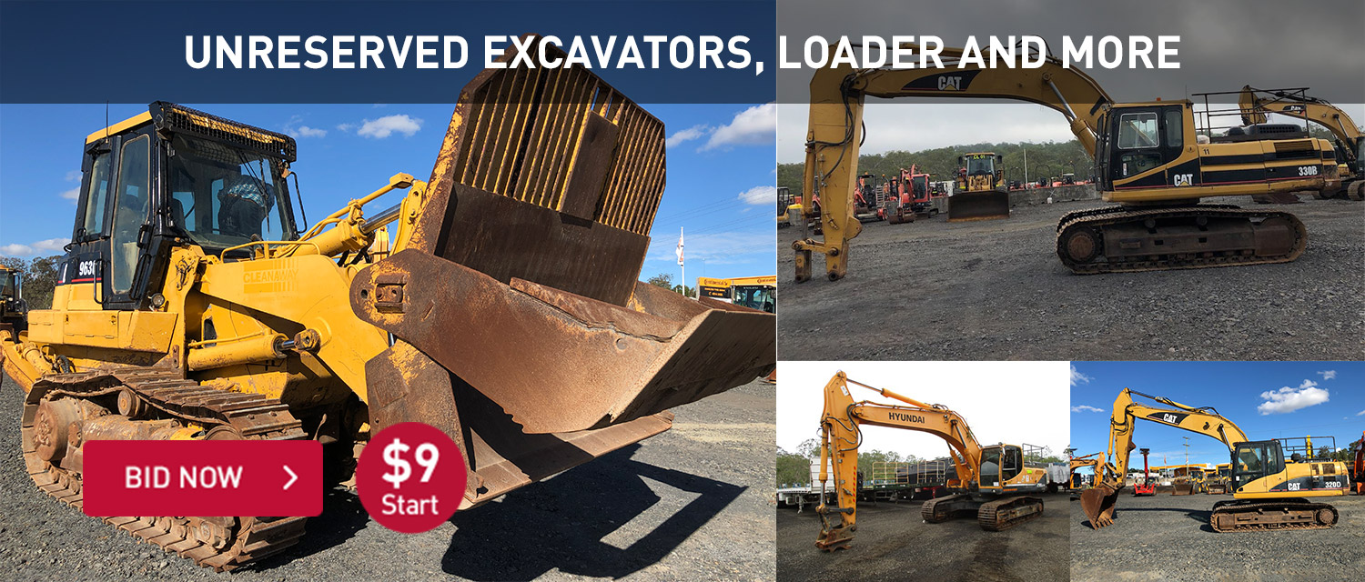 Unreserved Excavators, loaders and more