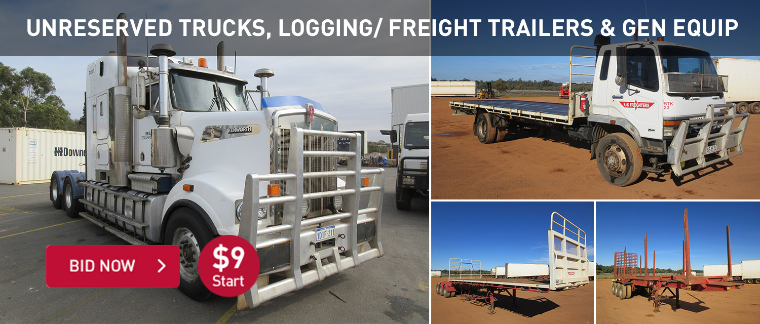 Unreserved Trucks, logging/Freight Trailers and Gen Equip