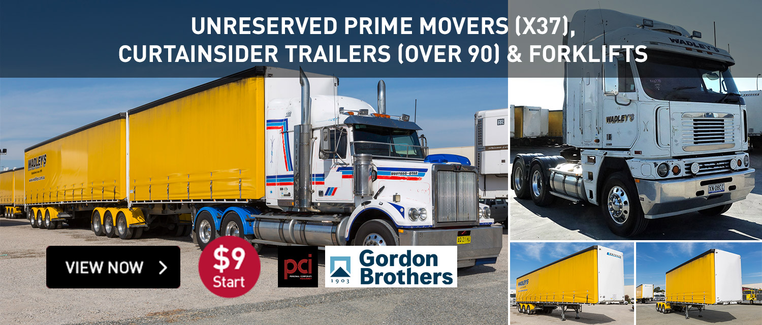 Unreserved Prime Movers (X37), Curtainsider Trailers (OVer90) & Forklifts