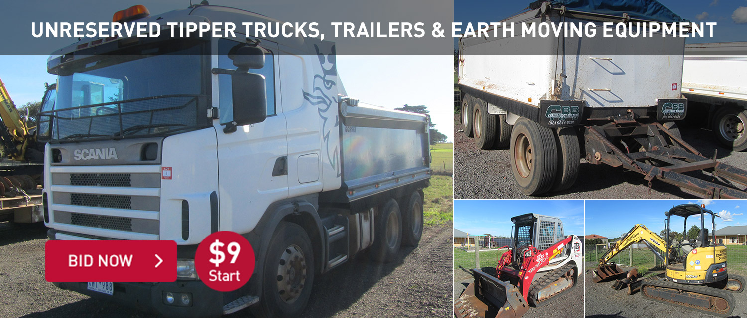 Unreserved Tipper Trucks, Trailers and Earth moving Equipment