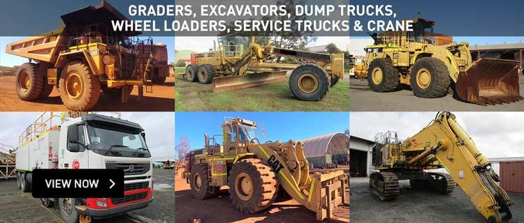 Graders, Excavators, Dump Trucks, Wheel Loaders, Service Trucks & Crane