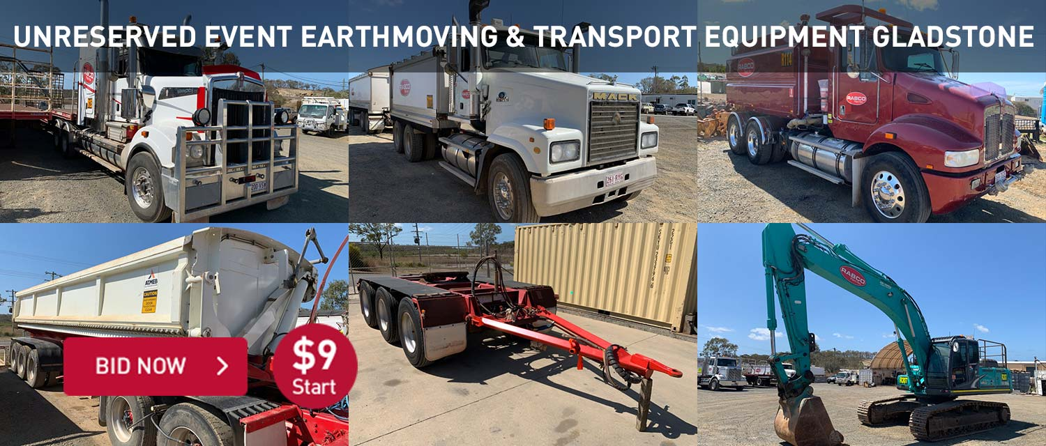 Unreserved event earthmoving and transport equipment gladstone