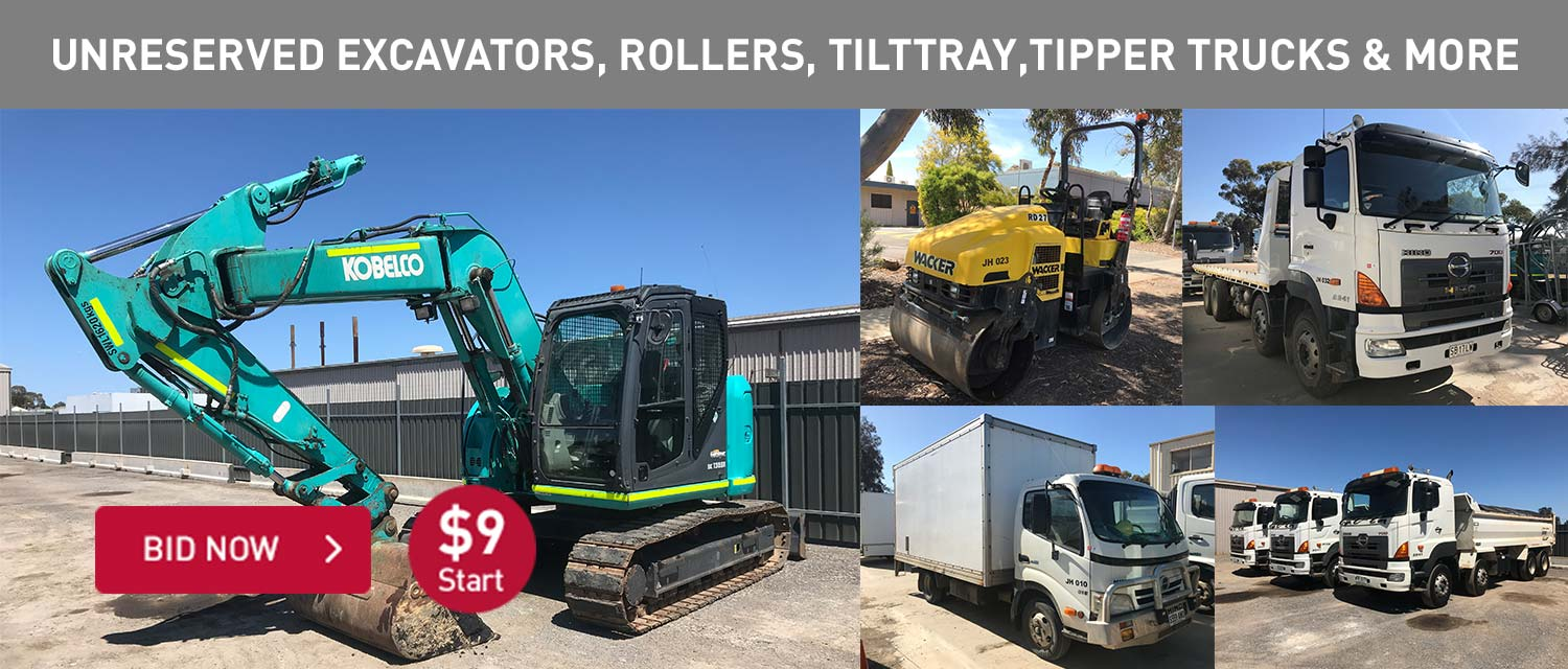 unreserved excavators, rollers, tilttray, tipper trucks and more