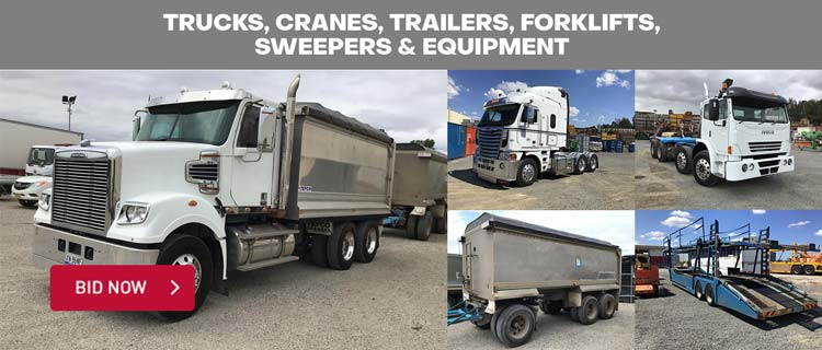 Trucks, Cranes, Trailers, Forklifts, Sweepers & Equipment