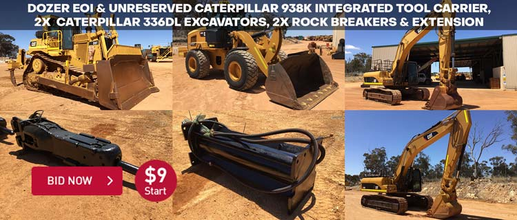 Unreserved Caterpillar 938K Wheel Loader & 336DL Excavators