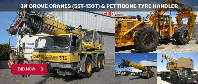 3x Grove Cranes (55T-130T) & Pettibone Tyre Handler