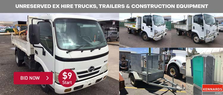 Unreserved Ex Hire Trucks, Trailers & Construction Equipment