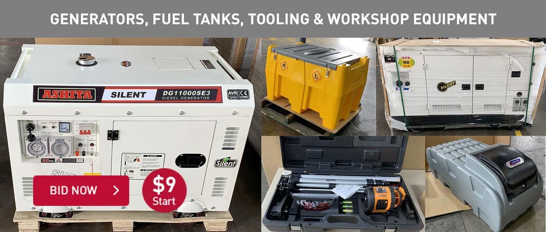 Generators, Fuel tanks, tools and workshop equipment