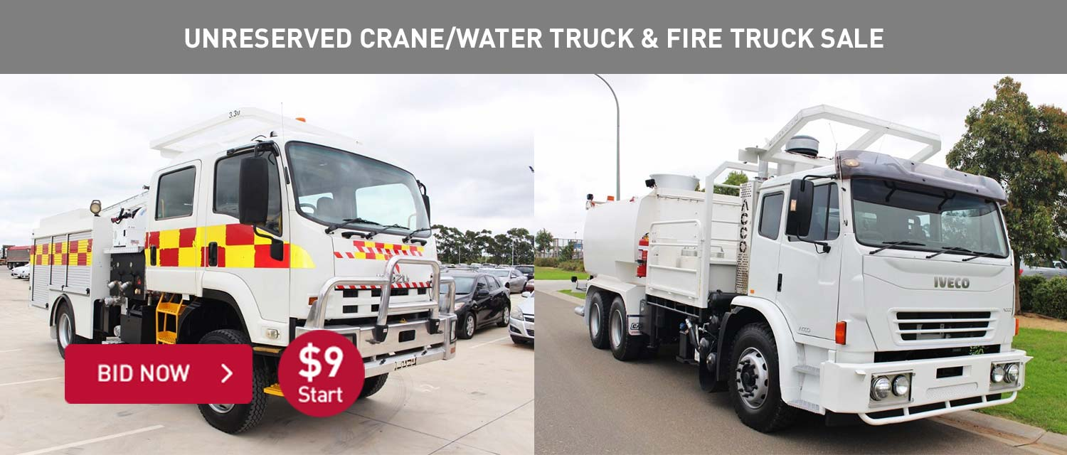 Unreserved Crane/Water Truck and Fire Sale
