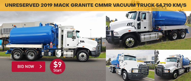 Unreserved 2019 Mack Granite CMMR Vacuum Truck 54,710 km/s