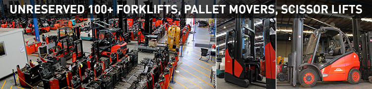 Unreserved 100 + Forklifts, Pallet Movers, Scissor Lifts