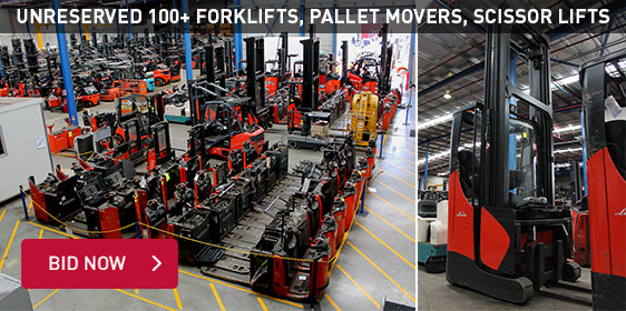 Unreserved 100+ Forlifts, Pallet Movers, Scissor Lifts
