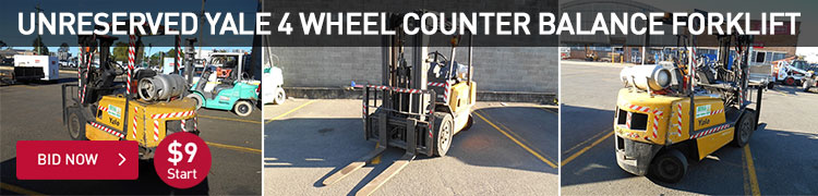 Unreserved - Yale 4 Wheel Counter Balance Forklift