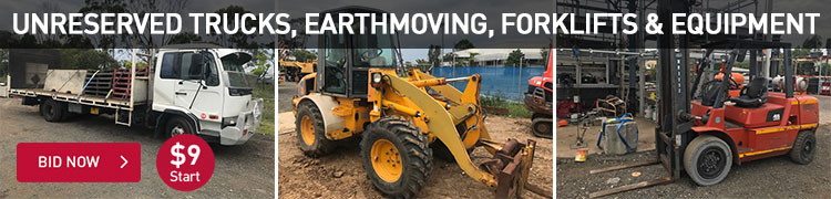 Unreserved Trucks, Earthmoving, Forklifts and Equipment