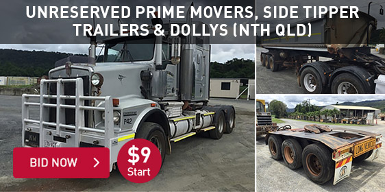 Unreserved Prime Movers, Side Tipper Trailers & Dollys