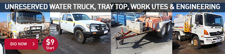 Unreserved Water Truck, Tray Top, Work Utes, & Engineering