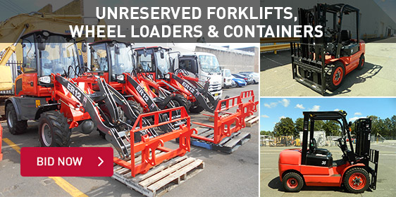 Unreserved Forklifts, Wheel Loaders & Containers