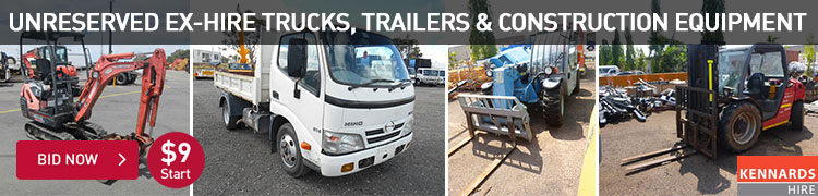 Unreserved Ex-Hire Trucks, Trailers & Construction Equipment