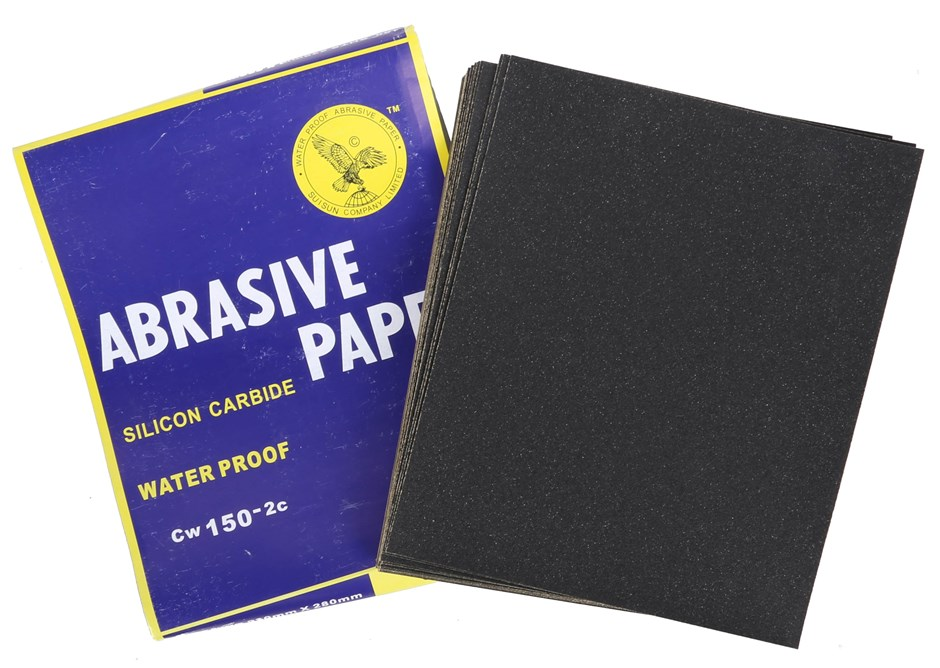 100 x Sheets Abrasive Paper, Waterproof Silicon Carbon Grit 150 Sheet Size;