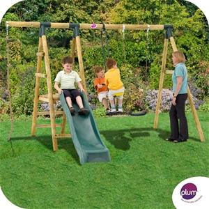 Buy Plum Meerkat Wooden Garden Swing Set With Swing 2 Seat Glider