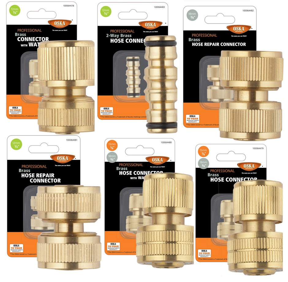 6 x Assorted Brass Hose Connectors Comprising 1/2`` Connector With Waves St