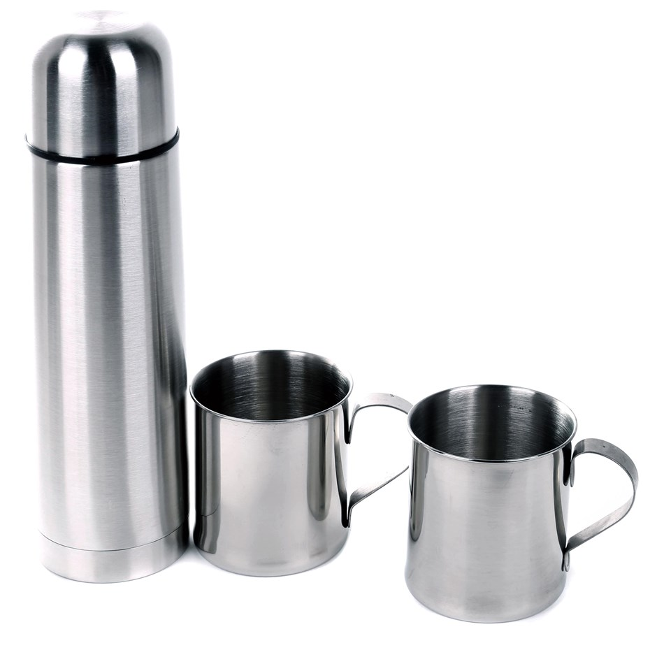 Stainless Steel 3pc Vacuum Flask & Mug Set In Nylon Zip Carry Case. Buyers