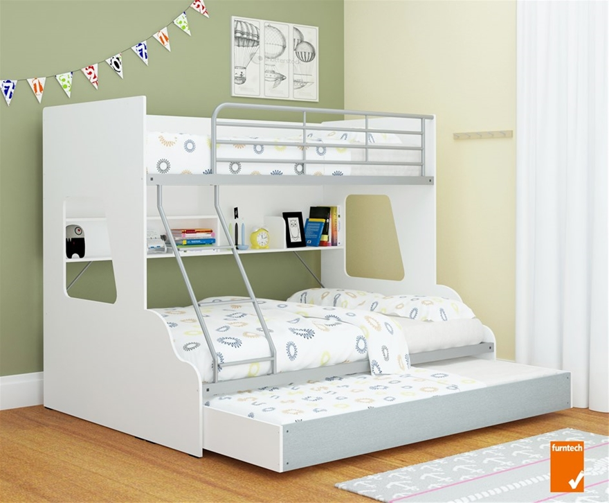 Single Over Double Trio Bunk Bed With Shelves Trundle Storage
