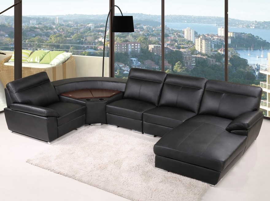 Bern - Comfort Corner Lounge with chaise and storage, Black