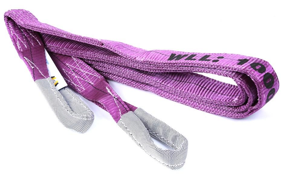 2 x Flat Webb Lifting Slings, WLL 1,000kg x 4M (with Test Cert.). Buyers No