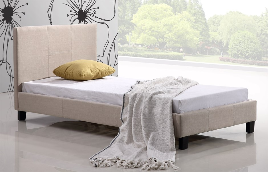 Single Linen Fabric Bed Frame - Beige