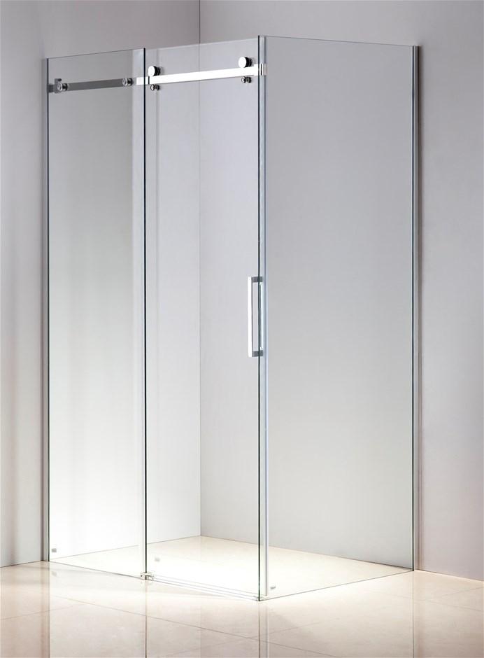 Shower Screen 1200x900x1950mm Frameless Glass Sliding Door