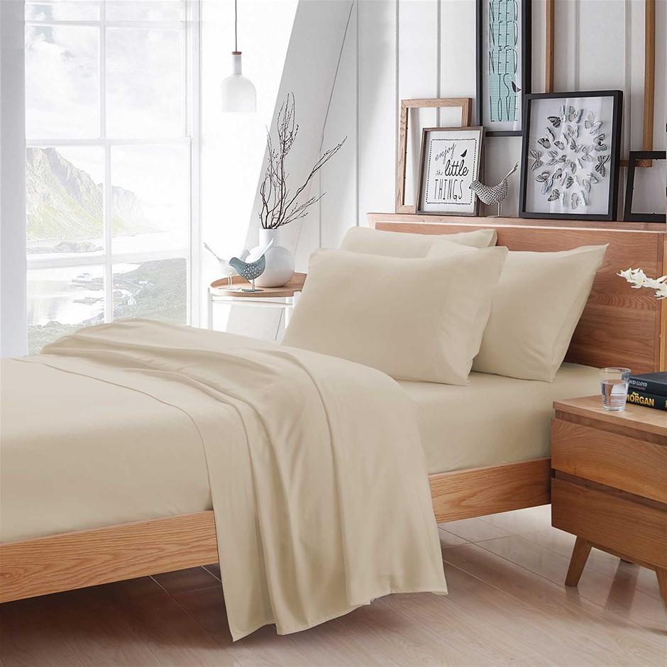 100% Bamboo Linen - Sheet Set 375 Thread Count - Ivory/KING