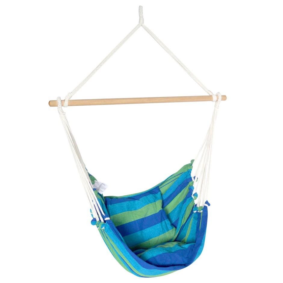 Gardeon Hammock Swing Chair with Cushion - Blue & Green