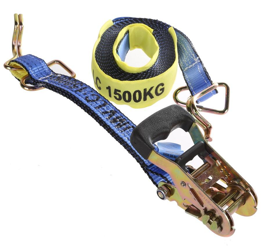 4 x Ratchet Tie Down Assemblies, 35mm x 6M, L/C 1500kg c/w Hook & Keepers,