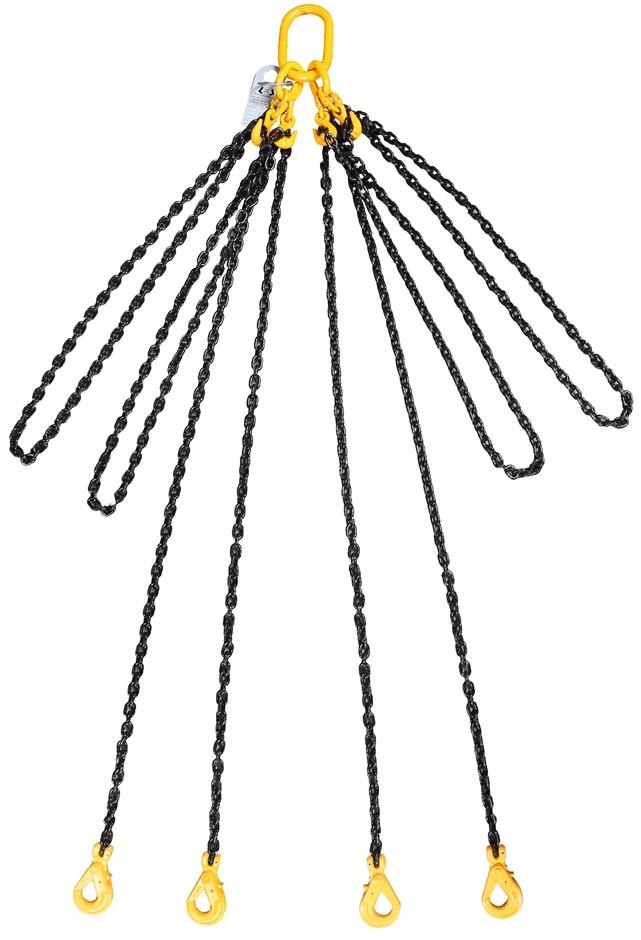 Lifting Chain Sling, 4 Leg WLL 3,500kg x 8mm Chain x 6M c/w Clevis Self Loc