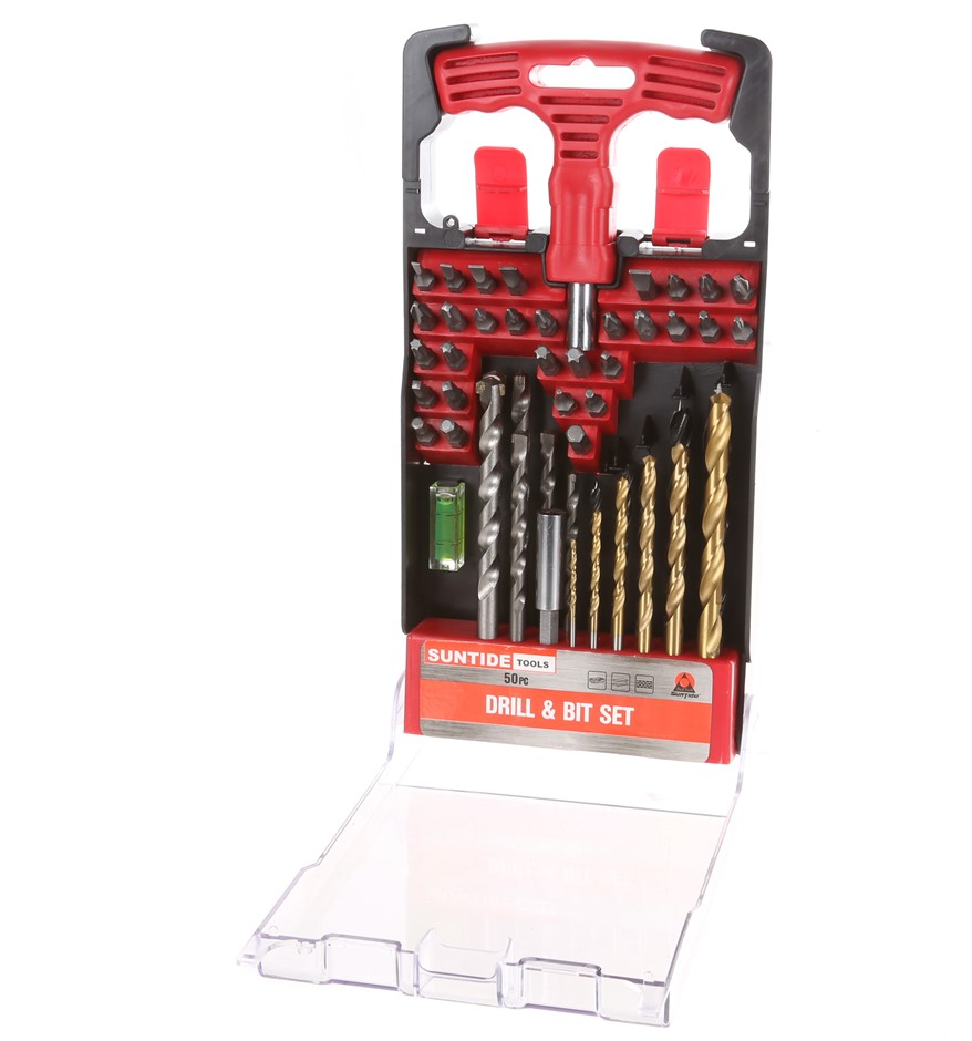 50pc Drill & Bit Set c/w Hand Screwdriver, Mini Level, Bit Holder. Drill Si