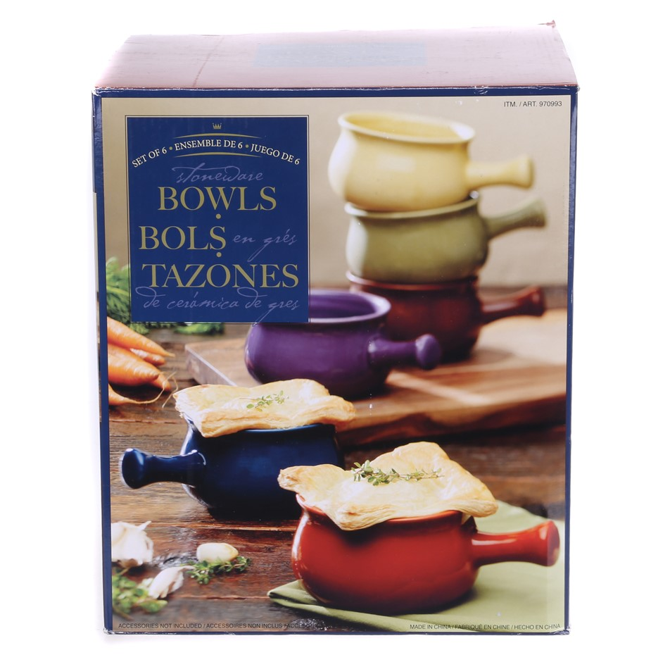 Set of 6 Bowls, Made of Stoneware, 473ml/16oz Capacity. Buyers Note - Disco