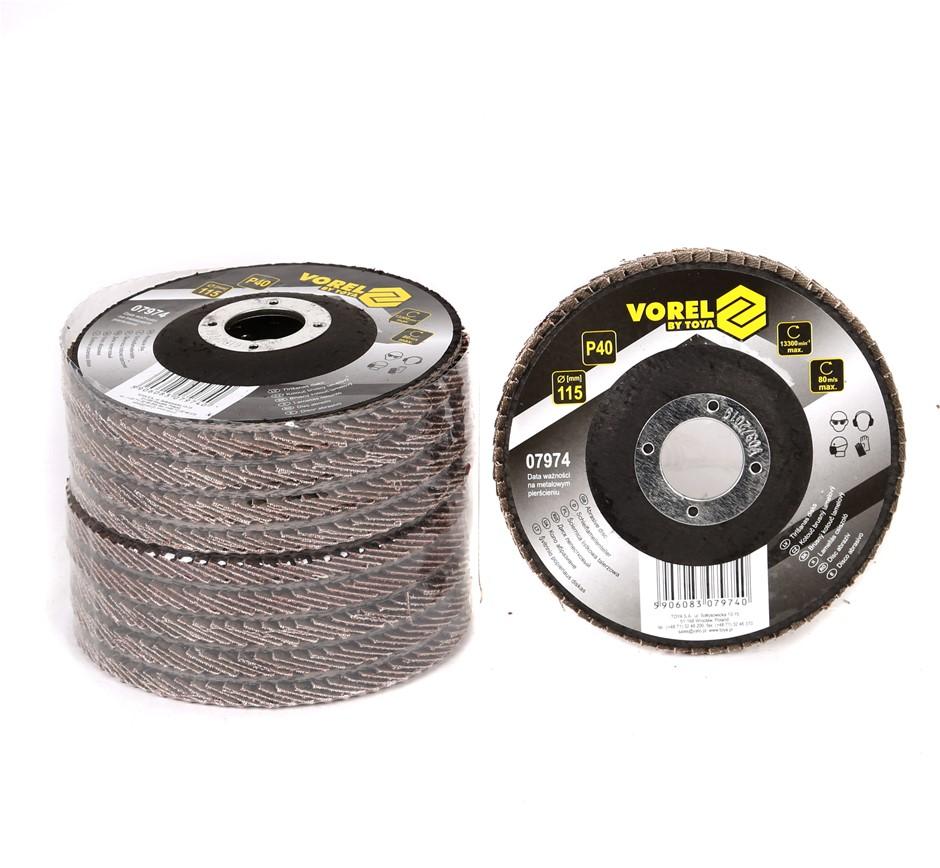 10 x VOREL Flap Discs 115mm, Grit P40. Buyers Note - Discount Freight Rates
