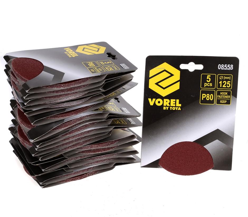 20 x Packs of 5 VOREL Sanding Discs 125mm, Grit P80, Hook Fastener. Buyers