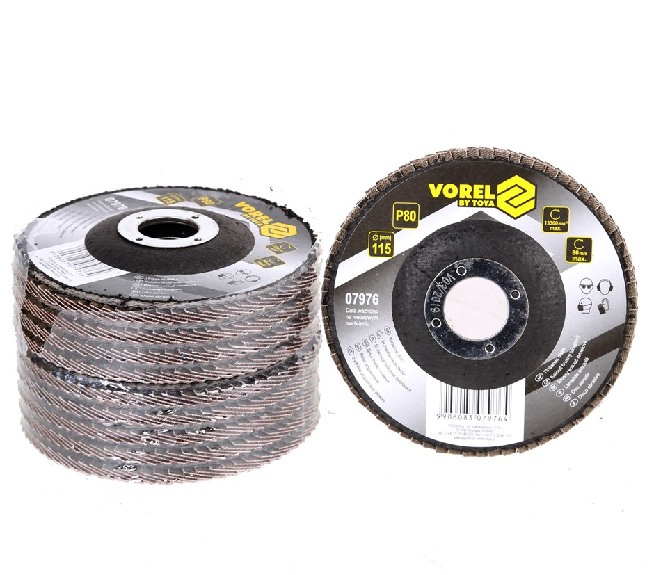 10 x VOREL Flap Discs 115mm, Grit P80. Buyers Note - Discount Freight Rates