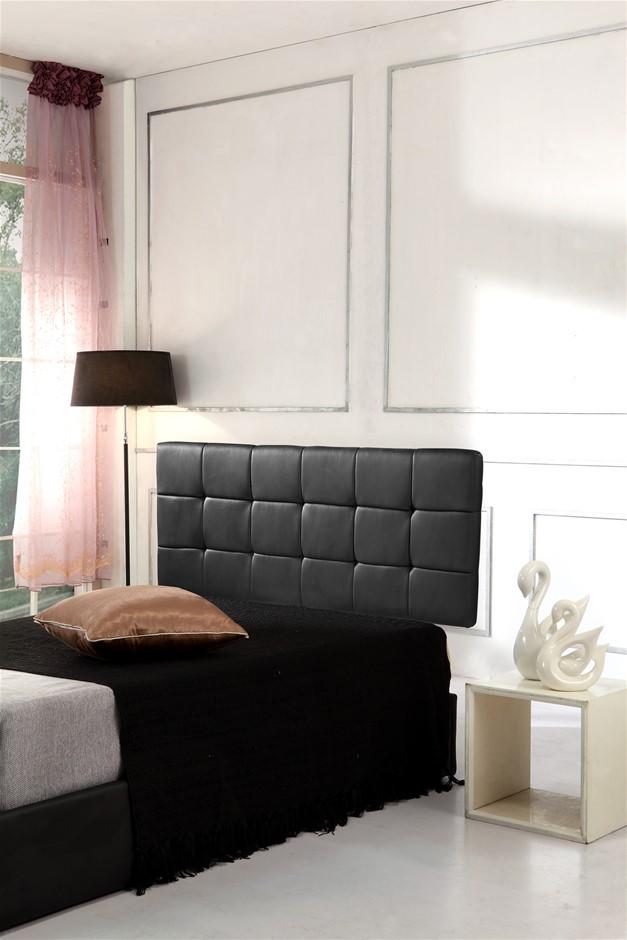 PU Leather Queen Bed Deluxe Headboard Bedhead - Black