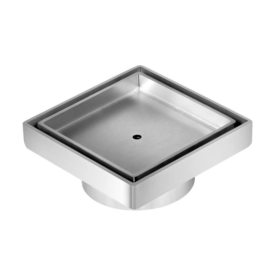 Square Stainless Steel Shower Grate Drain Floor Bathroom 75mm Depth